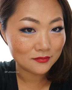 Blue makeup look and red lips on asian monolid eyes   Futilities and More