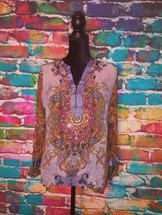 BILA Paisley Semi Sheer 3/4 Sleeve Sequined Embroidered Tunic Top Size L  #BILA #Tunic #EveningOccasion