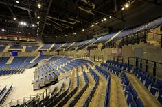 Our Audience Seating range at Liverpool Arena, UK. Blue, Entertainment, Stadium, Furniture, Folding Seating, Interior, Design, Decor.