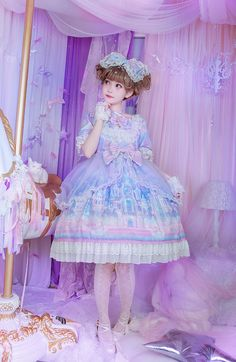 Moonlight Forest -Fantasy Castle- Short Sleeves Lolita OP Dress with Overskirt