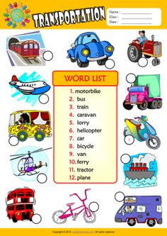 Transportation Number the Pictures ESL Vocabulary Worksheet Vocabulary Flash Cards, Vocabulary Worksheets, English Class, Learn English, Transportation Worksheet, Transport Pictures, Computer Basics, English Worksheets For Kids, Preschool Science