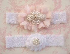 Blush Wedding Garter Wedding Garter Set Toss by nanarosedesigns