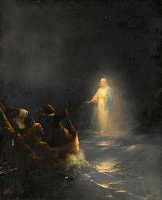 Catholic Art, Religious Art, Jesus Walk On Water, Bibel Journal, Pictures Of Jesus Christ, Jesus Painting, Christ The King, Prophetic Art, Biblical Art