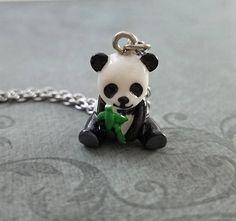 Tare Panda pendant necklace silver plated chain 18 inch kawaii