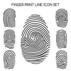 Finger print line icons or thumbprint signs. Free Vector Images, Vector Free, Finger Scan, Human Icon, Camouflage Patterns, Logo Design, Graphic Design, Line Icon, Art Sketchbook