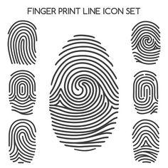 Fingerprint line icons