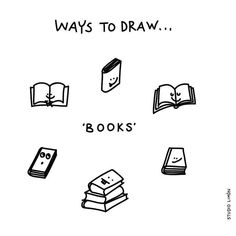 Books - Ways to Draw Doodle Sketch, Doodle Drawings, Easy Drawings, Bullet Journal Inspiration, Journal Ideas, Visual Note Taking, Notebook Doodles, Visual Dictionary, Reading Words