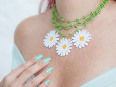 Chunky Daisy Crochet Necklace Layered Chic Lace by PinaraDesign