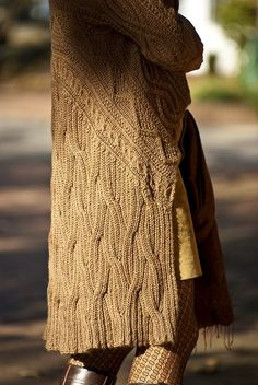 I love the look of those cables. Aran Wrap Cardigan  by Angela Hahn