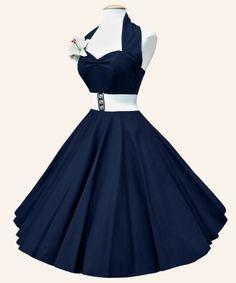 1950's Halterneck Blue Satin Dress by Vivien Holloway at vivienofholloway.com