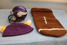 Items for a Vikings theme photo.  He might be a little too large for the football sack.  The Viking hat would look good on it's own though.