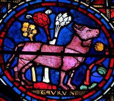 Cathédrale de Chartres, vitrail du signe du Taureau