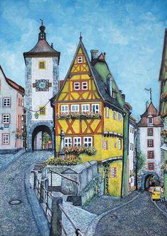 Oil 50x70 Rothenburg ob der Tauber Germany