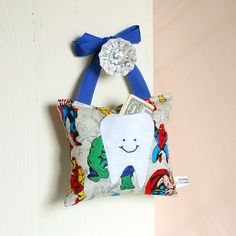 Boys Superhero Tooth Fairy Pillow featuring by BoutiqueVintage72, $18.00
