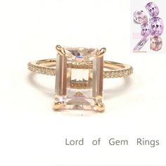 $619 8x10mm Emerald Cut Morganite Engagement Diamonds Ring 14K Rose Gold Claw Prongs #LOGR