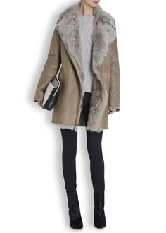 Taupe toscana shearling coat - Women