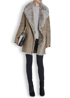 Taupe toscana shearling coat - Women