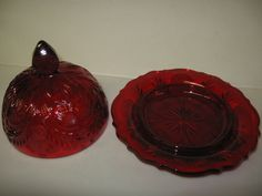 Ruby Red Glass Inverted Thistle Pattern Domed Covered Butter Dish Round Pound | eBay