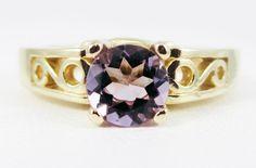 Amethyst round filigree Gold Ring