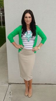 Nude pencil skirt, green cardigan  a mint statement necklace