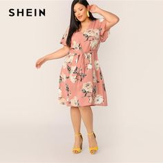 SHEIN Plus Size Pink Self Belted Floral Print Tunic Dress 2019 Women Summer Casual Butterfly Sleeve Shift V neck Midi Dresses V Neck Midi Dress, Belted Dress, Ruffle Dress, Natural Clothing, Curvy Dress, Cheap Dresses, Midi Dresses, Fashion Dresses, Women's Fashion