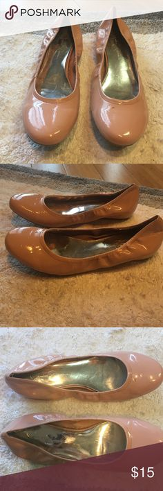 Jessica Simpson Patent Leather 1 inch Flats Only worn once! Good condition Jessica Simpson shoes with a 1 inch heel. Pretty blush color- perfect for spring! Slight scuffs and mark on right shoe as shown in picture. Jessica Simpson Shoes Flats & Loafers