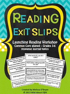 Wild about fifth grade: Using Reading Exit Slips to provide purpose & accountability during independent reading time Reading Strategies, Reading Skills, Teaching Reading, Reading Comprehension, Reading Time, Guided Reading, Teaching Ideas, Reading Intervention, Reading Lessons