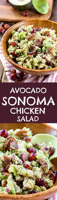 Avocado Sonoma Chicken Salad ~ creamy and crunchy and loaded with good nutrition. Celery, red onion, and toasted pecans provide the crunch, a mashed ripe avocado and a little mayo give it plenty of creaminess, and halved red grapes add little bursts of sweetness.