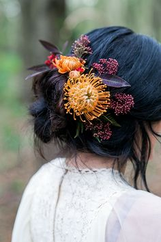 Hair Style Bride Bridal Up Do Flowers 1970s Gypsy Bohemian Autumn Woodland Wedding Ideas http://carolineopacicphotography.com/