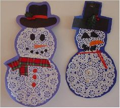 Winter Crafts for Kids: Doily snowmen. Preschool Christmas, Christmas Activities, Winter Christmas, Kids Christmas, Winter Activities, Preschool Winter, Prim Christmas, Bastelarbeit Winter, Winter Theme