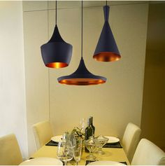 Free Shipping 3pcs/pack together ABC(Tall,Fat and Wide) Design by tom dixon copper shade pendant lamp Beat Light,110V/230V $148.00