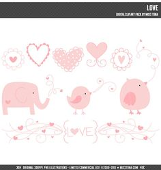 Love Digital Clipart Clip Art Illustrations - instant download - limited commercial use ok