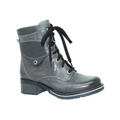 Women's Dromedaris Kara Metallic Boot ($205) ❤ liked on Polyvore featuring shoes, boots, ankle booties, combat boots, grey, military boots, lace up booties, short heel boots and grey booties