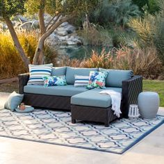 By outfitting your backyard with the Belham Living Cara All Weather Wicker Sectional Sofa Set , you'll have all the pieces in place for entertaining. Resin Patio Furniture, Backyard Furniture, Outdoor Furniture Sets, Antique Furniture, Wooden Furniture, Asian Furniture, Porch Furniture, Street Furniture, Furniture Layout