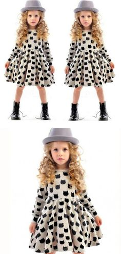 SQ232 2016 new spring and autumn littlecat black dress European and American style long-sleeved princess girl dress kids clothes $8