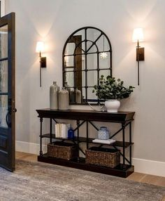 """The main paint color in this home is """"Sherwin Williams SW 7641 Collonade Gray.The main paint color in this home is """"Sherwin Williams SW 7641 Collonade Gray.Home Wall Ideas Apartment Entryway, Entryway Rug, Apartment Plants, Rustic Entryway, Apartment Kitchen, Apartment Living, Entryway Console, Bedroom Rustic, Diy Bedroom"""