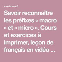Savoir reconnaître les préfixes « macro » et « micro ». Cours et exercices à imprimer, leçon de français en vidéo pour le primaire et le collège.