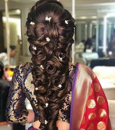 pre-wedding hairstyles for Mehndi Haldi or more features! - Hairstyle - - pre-wedding hairstyles for Mehndi Haldi or more features! Bridal Hairstyle Indian Wedding, Wedding Hair Half, Bridal Hairdo, Indian Bridal Hairstyles, Wedding Updo, Wedding Ceremony, Wedding Dress, Mehndi Hairstyles, Loose Hairstyles