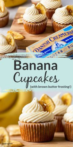 These moist banana cupcakes from Live Well Bake Often are flavored with warming spices and topped with an irresistible brown butter cream cheese frosting! These cupcakes are perfect for any festive occaision! These banana cupcakes are full of banana flavor and perfectly spiced! Grab your cup of coffee and enjoy a banana cupcake today! Banana Recipes, Easy Cake Recipes, Cupcake Recipes, Cupcake Cakes, Dessert Recipes, Muffin Recipes, Cup Cakes, Desserts To Make, Great Desserts