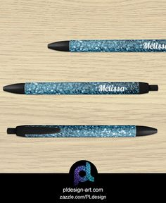 Personalize Beautiful Baby blue glitter sparkles Black Ink Pen by #PLdesign #sparkles #office #school #zazzle