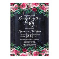 Wine Blush & Navy Bachelorette Party Invitation