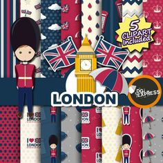 London Digital Paper  Clipart : London Paper England by DGexpress