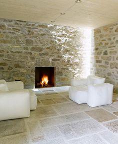Modern Contemporary Stone House Design Living Room Fireplace