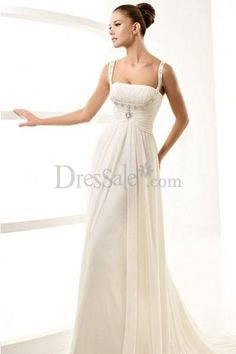 Grecian Pleated Draped Wedding Dress with Split-front  $135.99