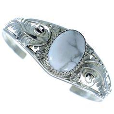 ~ Howlite Sterling Silver Native American Leaf Cuff Bracelet ~ silvertribe.com