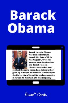 Students read a biographical passage and learn about Barack Obama. Comprehension questions check their understanding. Students will receive instant feedback as they learn about the 44th president. Students will learn historic facts and practice important comprehension skills with these engaging Boom™ Cards. Passage Writing, Reading Passages, Interactive Learning, Learning Activities, Middle School History, High School, Comprehension Questions, Student Reading, Reading Levels