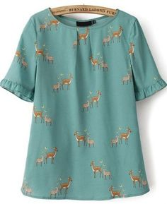 New Fashion Ladies' Animal deer print blouse O neck short sleeve Shirt casual slim brand designer tops Kurta Designs, Blouse Designs, Vetements Clothing, Mode Plus, Green Blouse, Green Shirt, Printed Blouse, Short Sleeve Blouse, Fashion Dresses