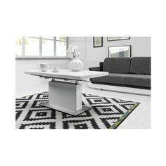 """""""EVITA"""" White/Black Glass & High Gloss Convertible Extendable Dining/Coffee Table - Chic, Contemporary and practical, the EVITA high gloss extending coffee table with the white or black glass top with the chrome metal base is a stunning cent Coffee Table To Dining Table, Black Glass, High Gloss, Convertible, Contemporary, Furniture, Home Decor, Infinity Dress, Decoration Home"""