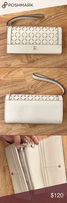 Kate Spade linney wristlet in pebble NWT. Kate Spade cream laser cut wristlet. Soft pebbled leather, same all over color. Comes with coordinating color removable strap to make into a wristlet. kate spade Bags Clutches & Wristlets