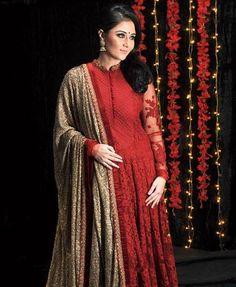 Deep red Sabyasachi Anarkali with sequinned gold dupatta taraanacouture@gmail.com
